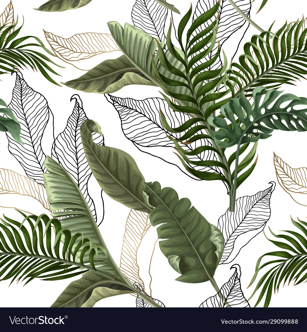 Seamless pattern with tropical leaves on white