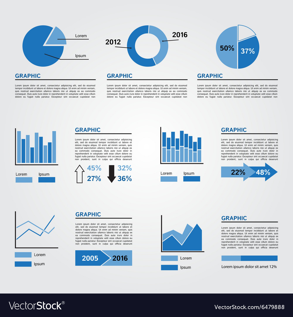 Set of Infographics Elements Blue Colors