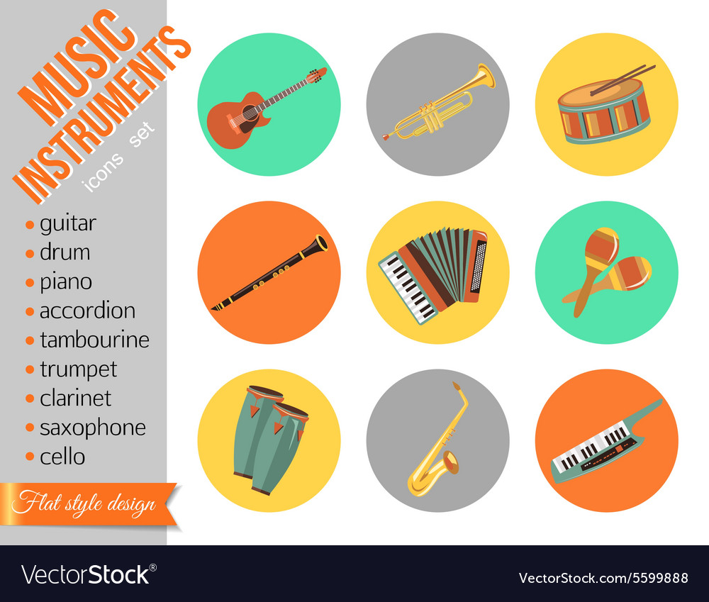 Set of music instruments Flat style design