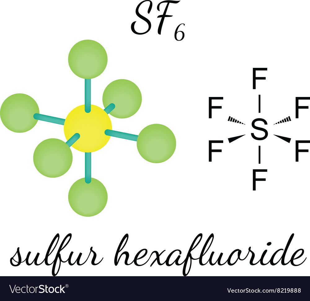 SF6 sulfur hexafluoride molecu...