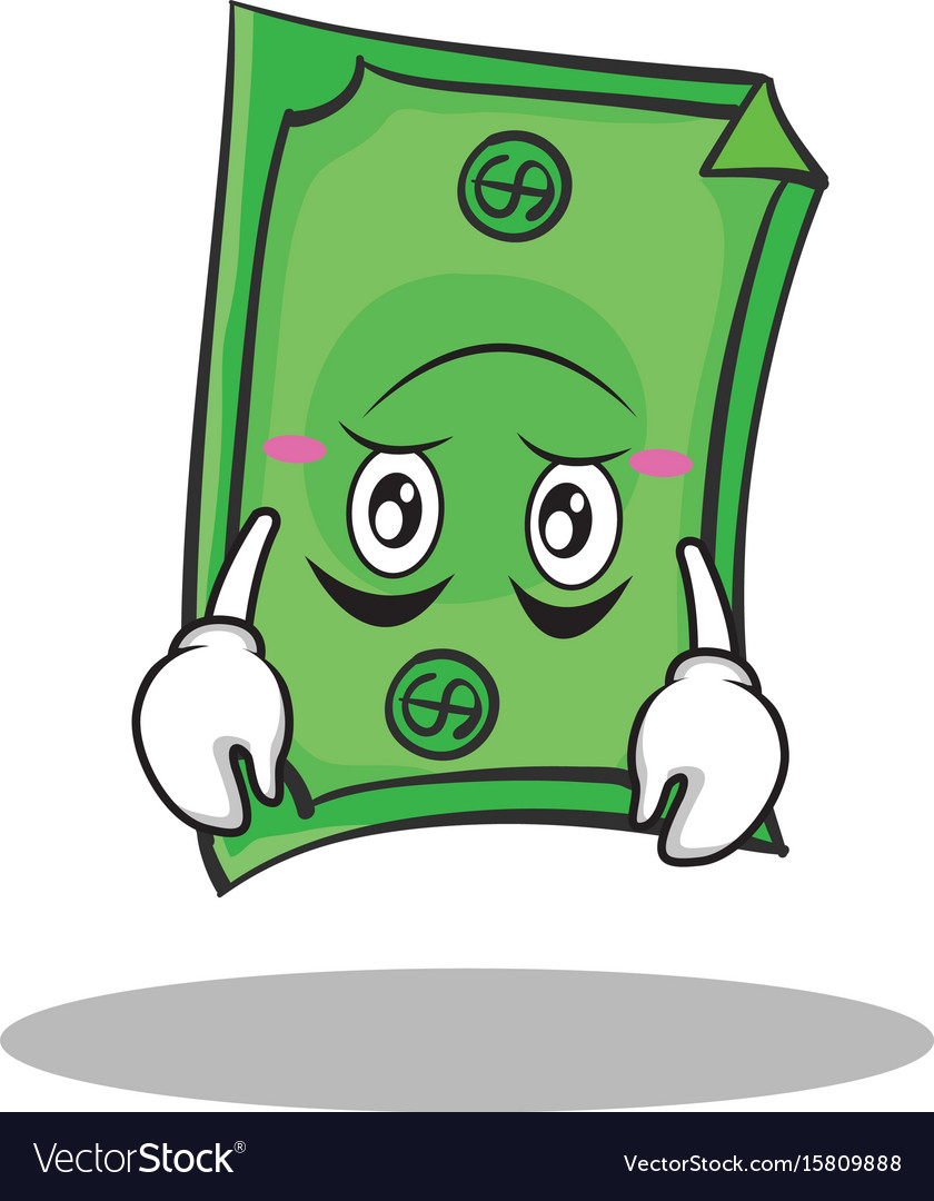 Upside down face dollar character cartoon style