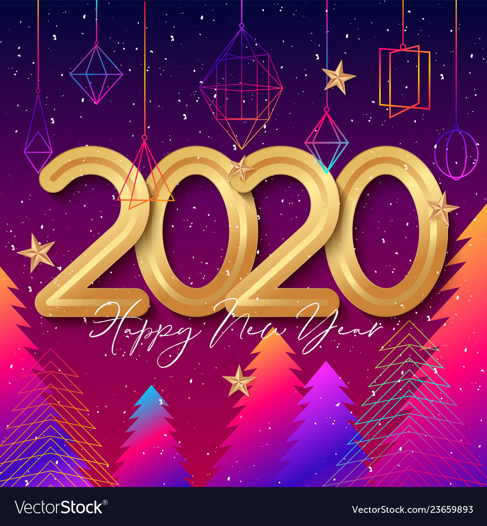 2020 happy new year background design with hanging
