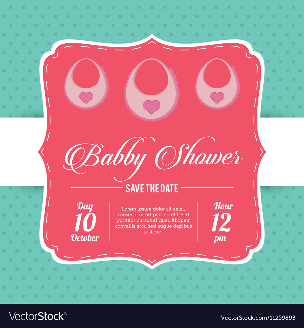 Bib of baby shower card design vector image