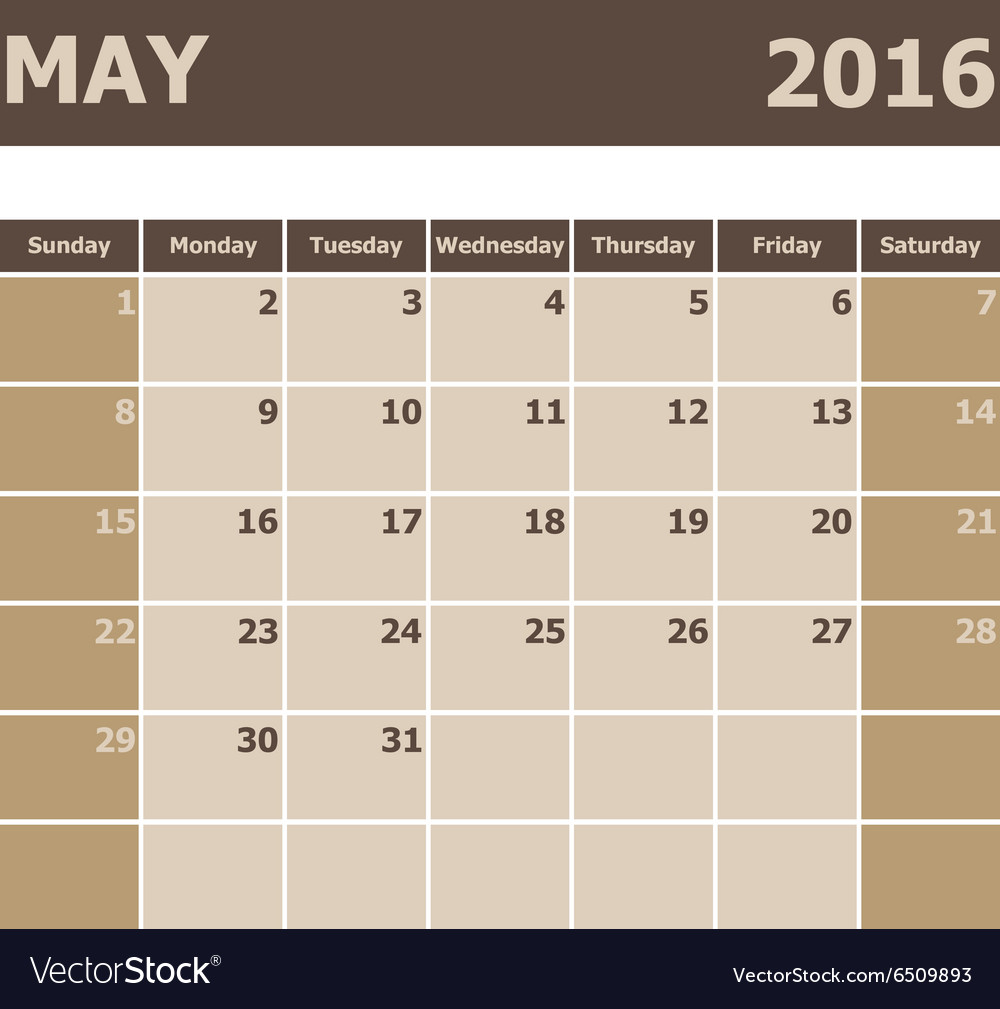 Calendar May 2016 week starts from Sunday