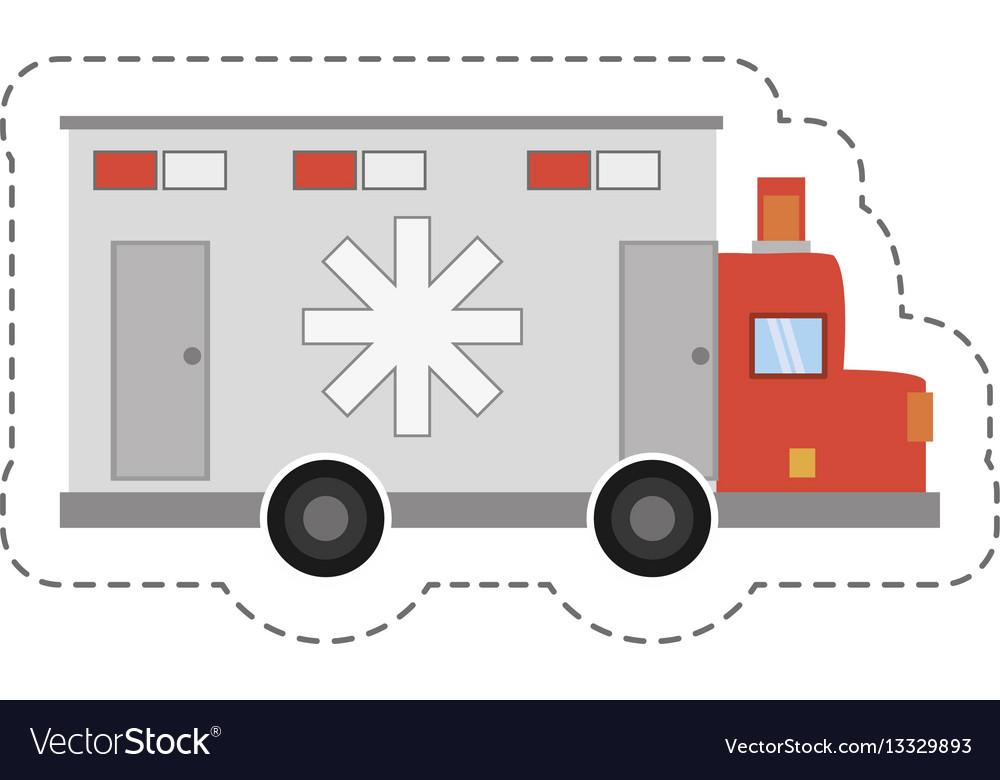 Cartoon ambulance transport emergency icon vector image