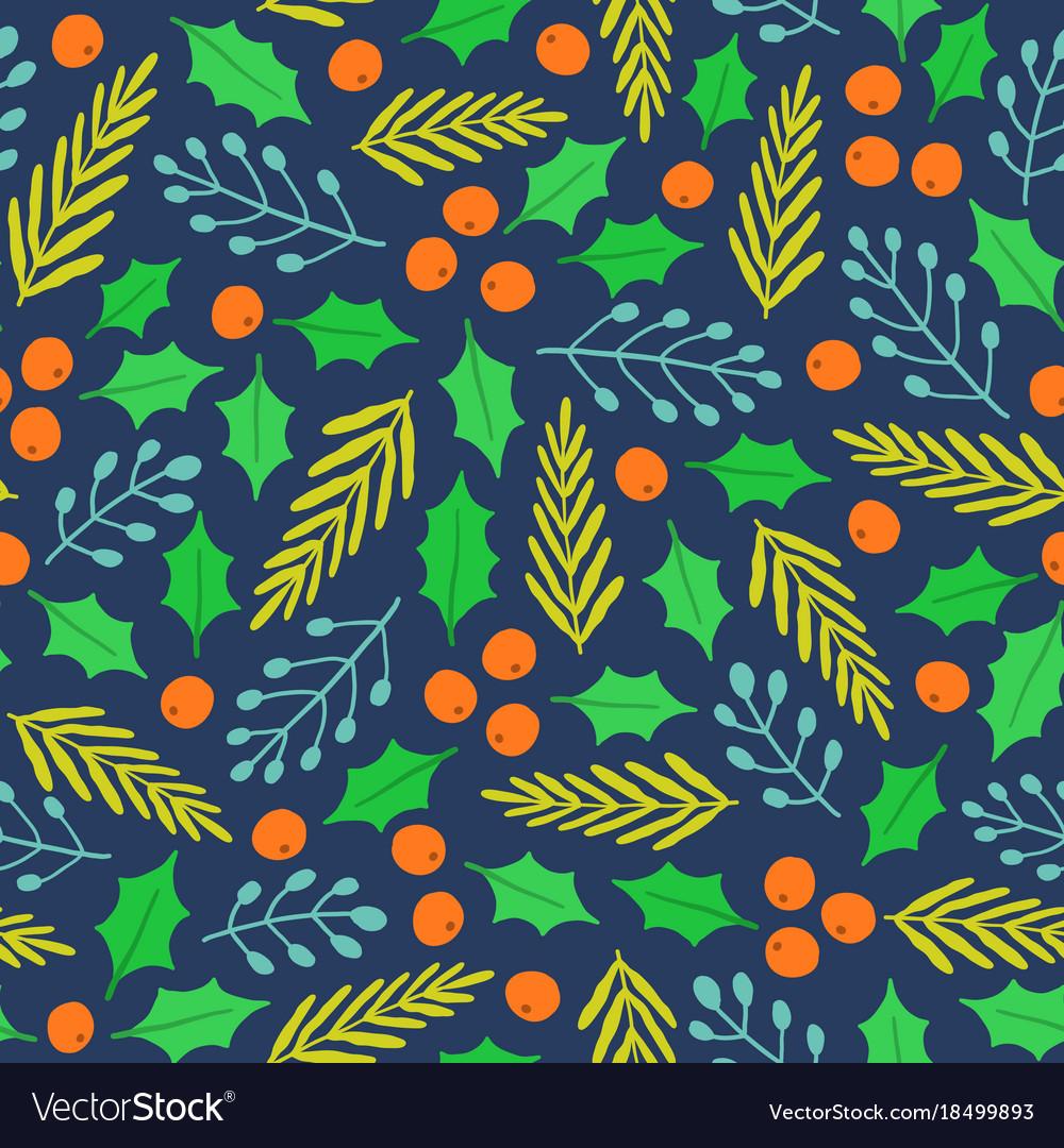 Christmas plants seamless pattern
