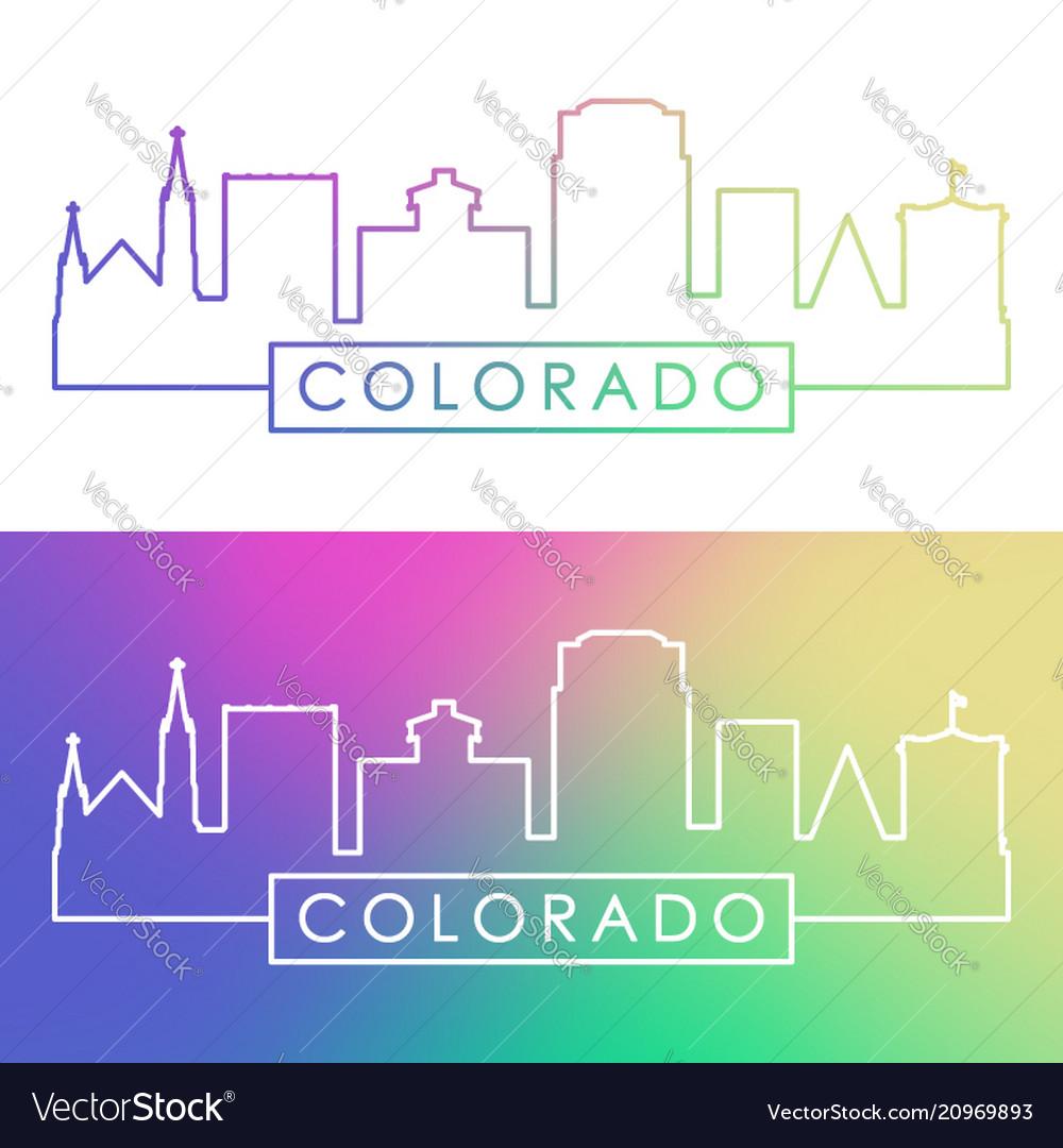 Colorado springs skyline colorful linear style