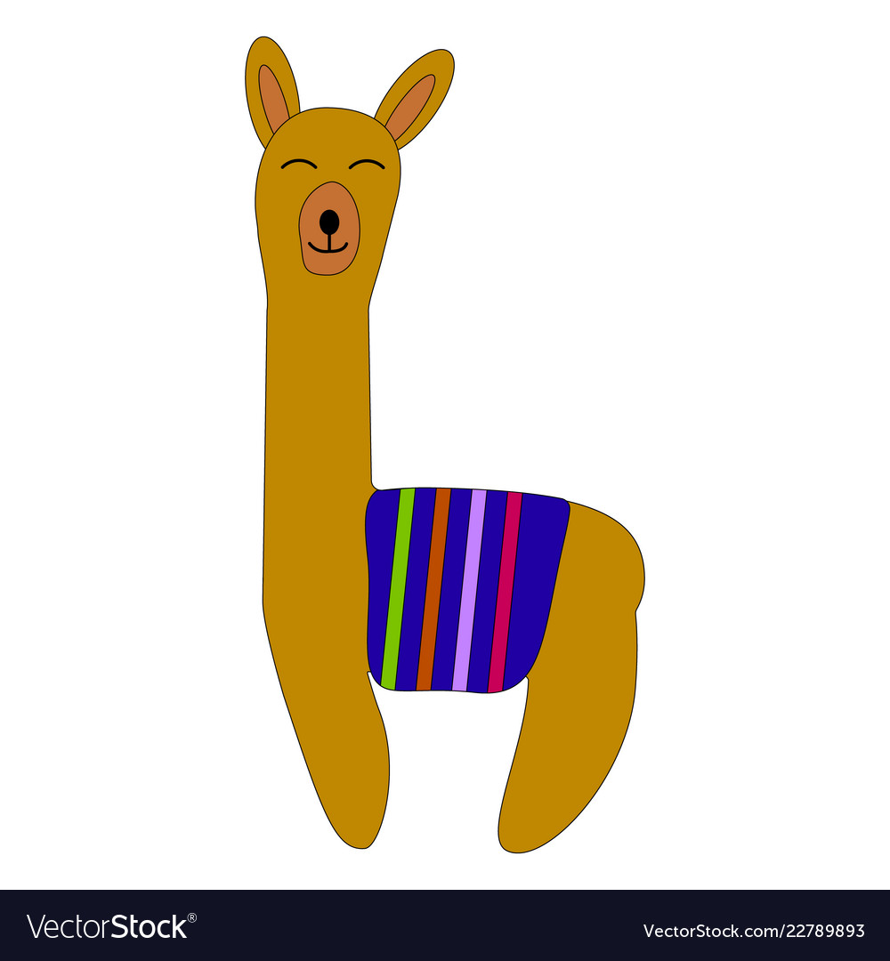 Cute cartoon llama design with no prob