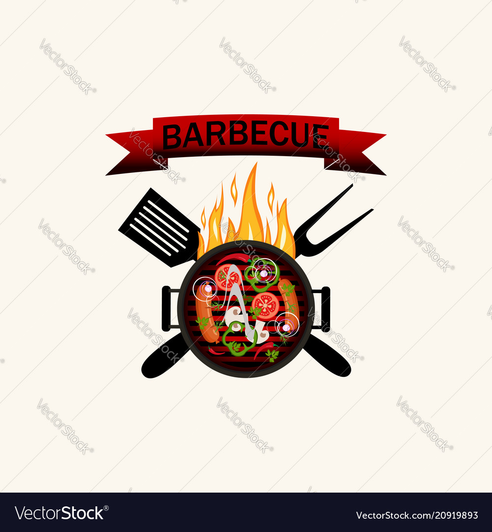 Logo grilled food barbecue with flames utensils