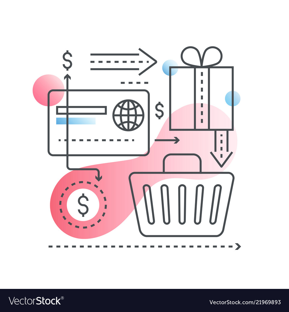 Online shopping concept in trendy line