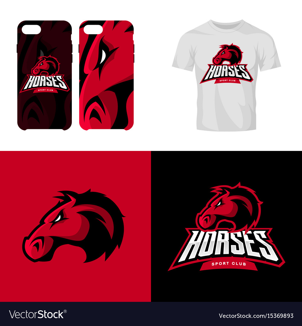 Red horse head sport club isolated logo vector image