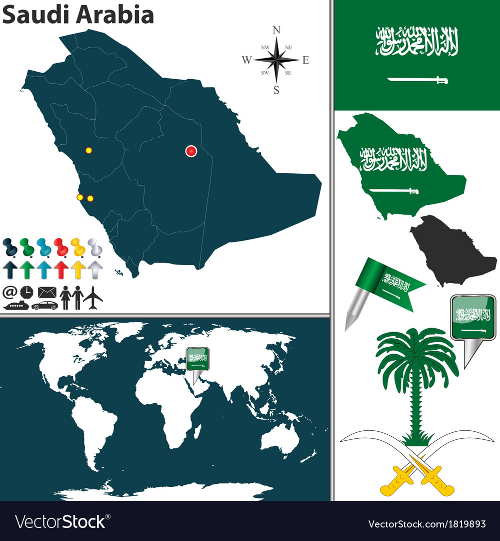 Saudi Arabia map world Royalty Free Vector Image