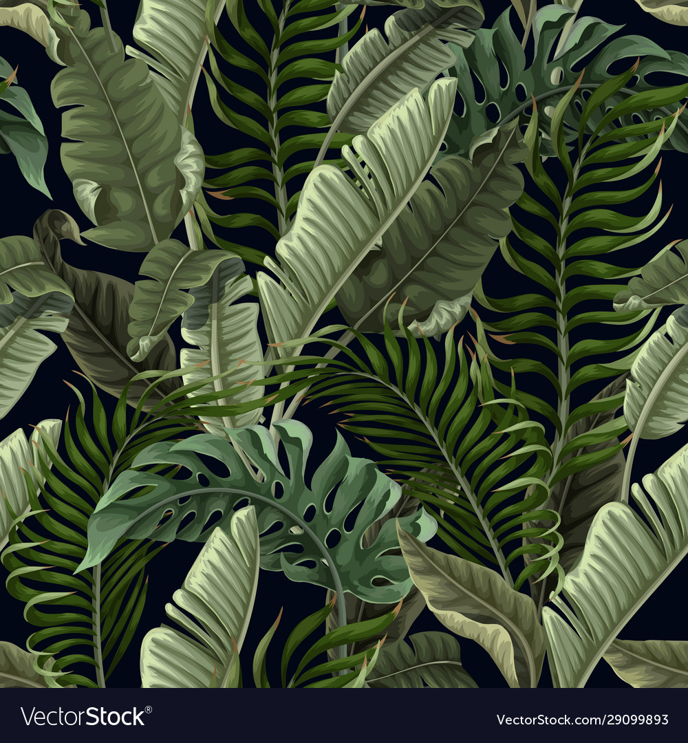 Seamless pattern with tropical leaves on black