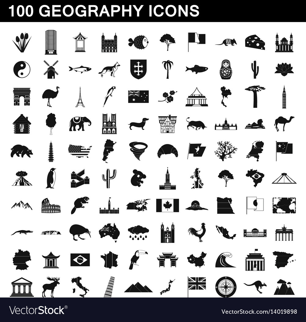 100 geography icons set simple style