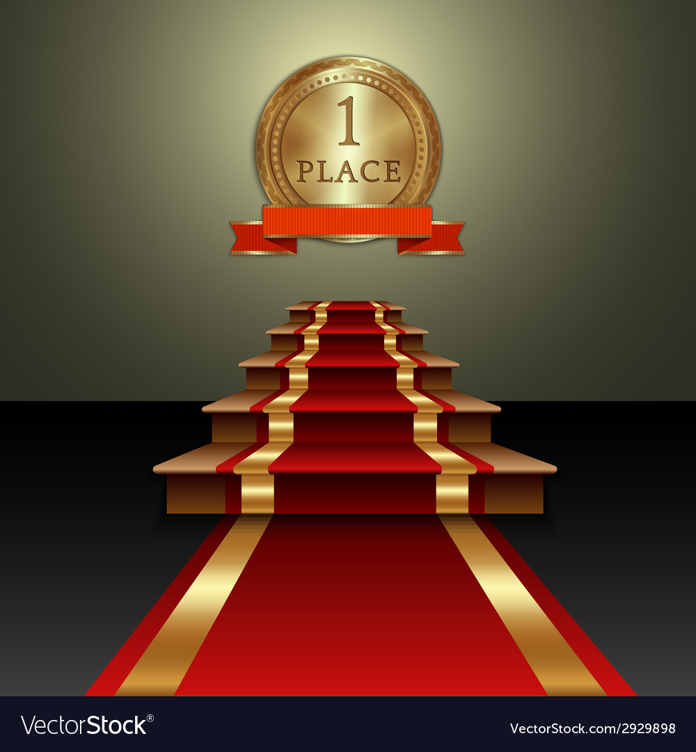 Abstract of red carpet and first place gold medal