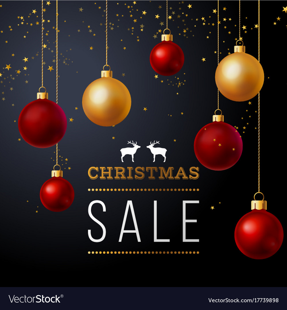 Background with balls and christmas sale text