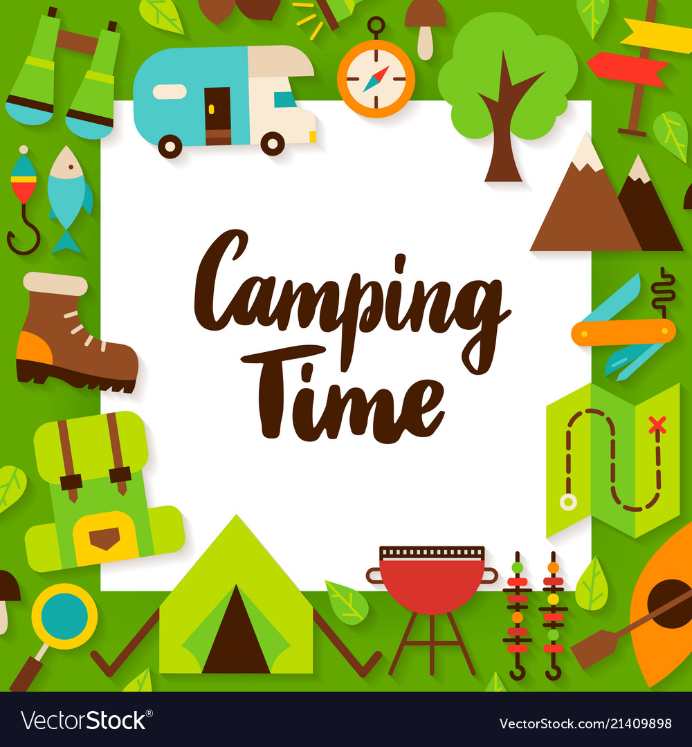 Camping time paper concept