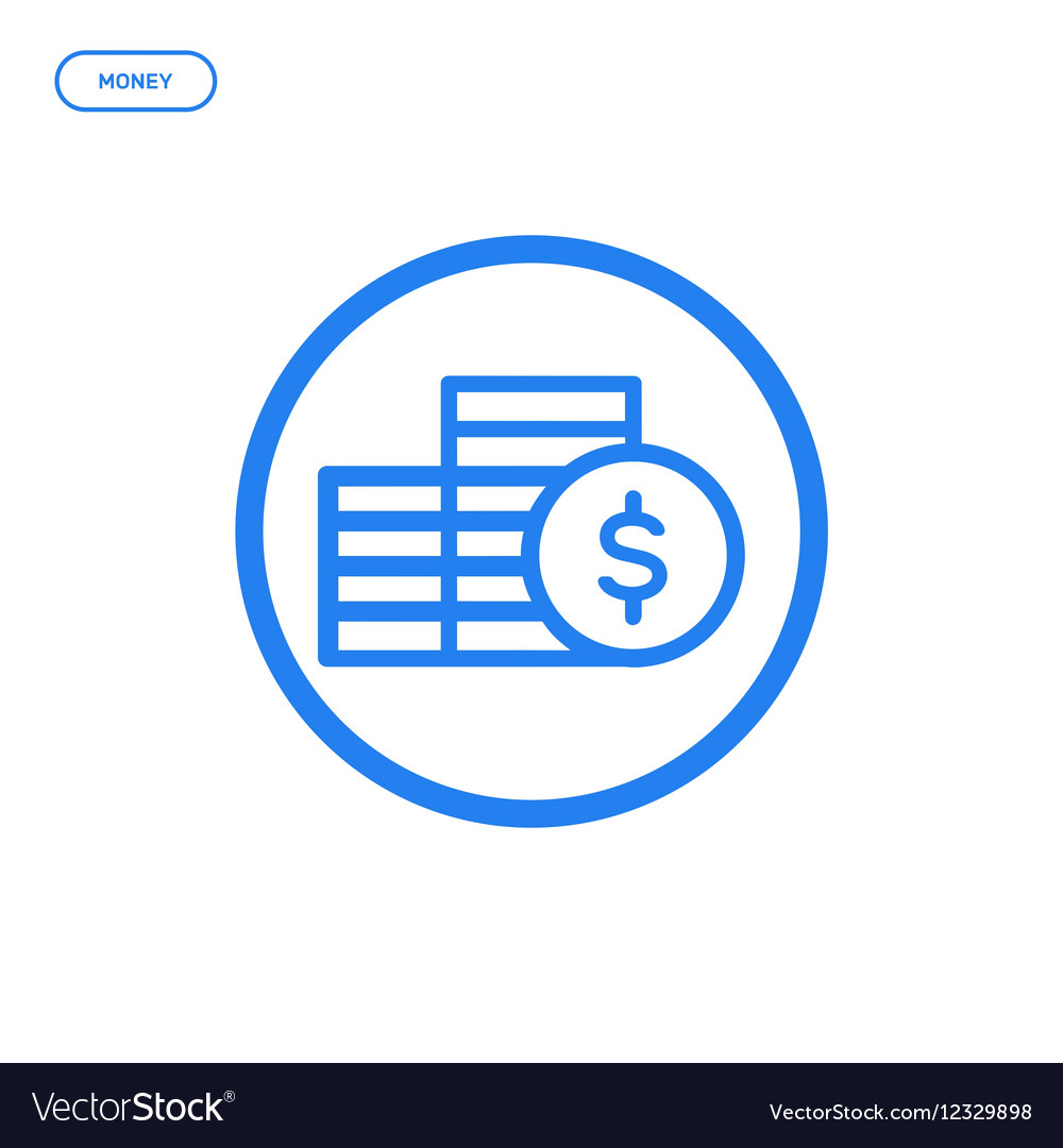 Flat bold line coins icon