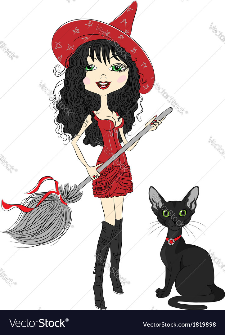 Girl witch with broom and black cat