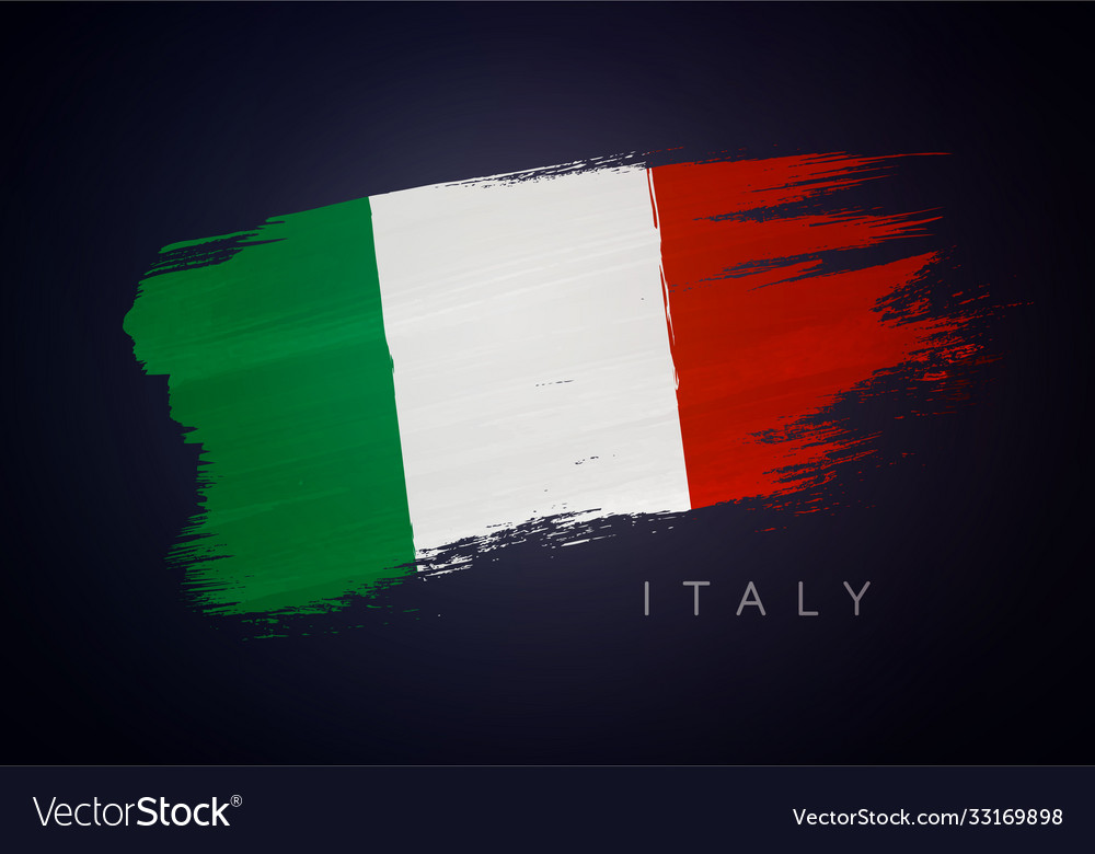 Grunge flag italy italian flag brush design vector