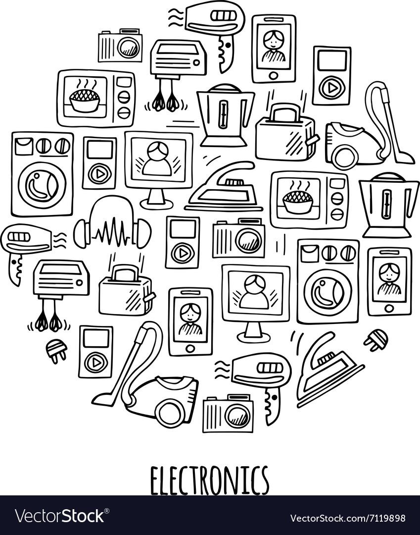 Home electronics sketch circle vector image
