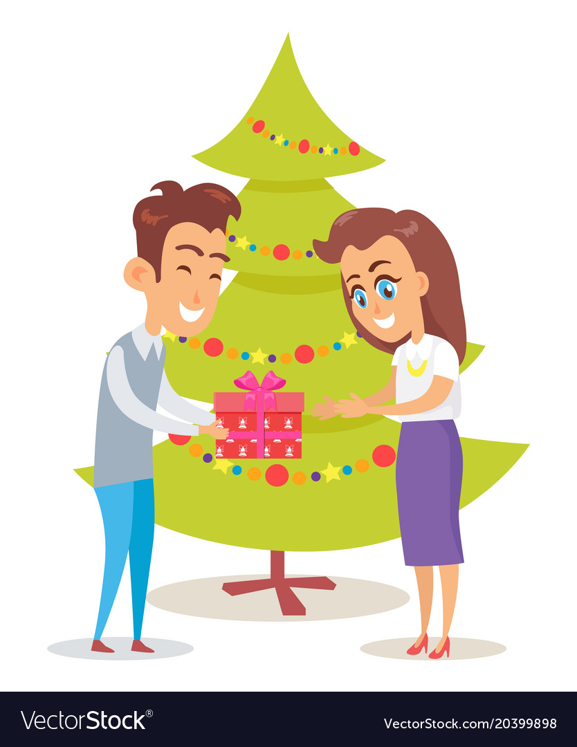 Merry christmas poster husband giving present wife
