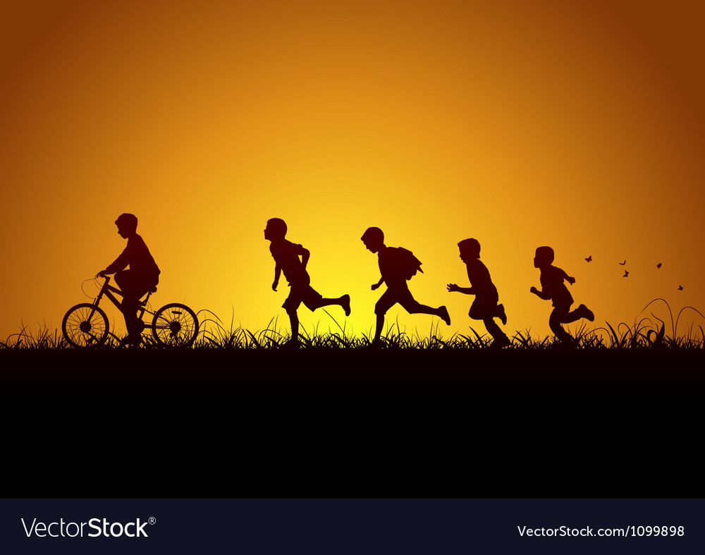 Nature and children vector image