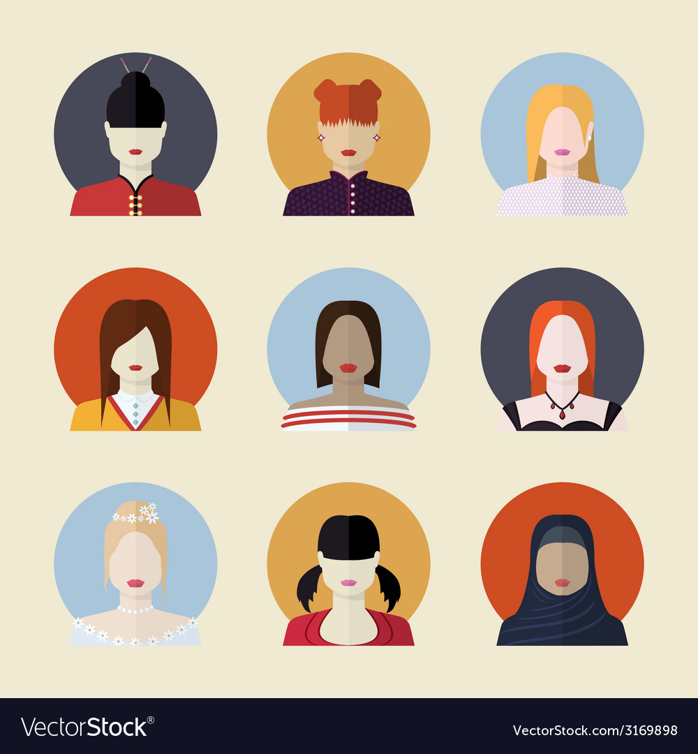 Set of women avatars different nationalities in