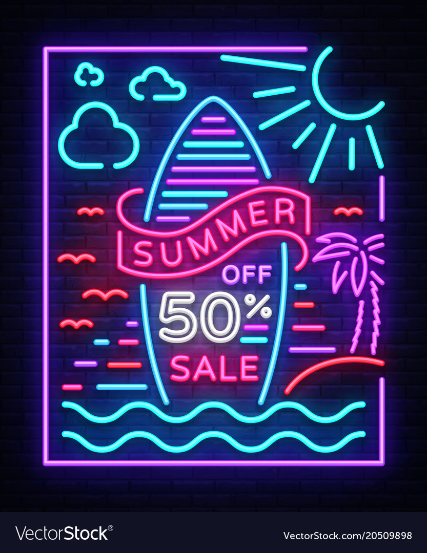 Summer sale poster in neon style design template