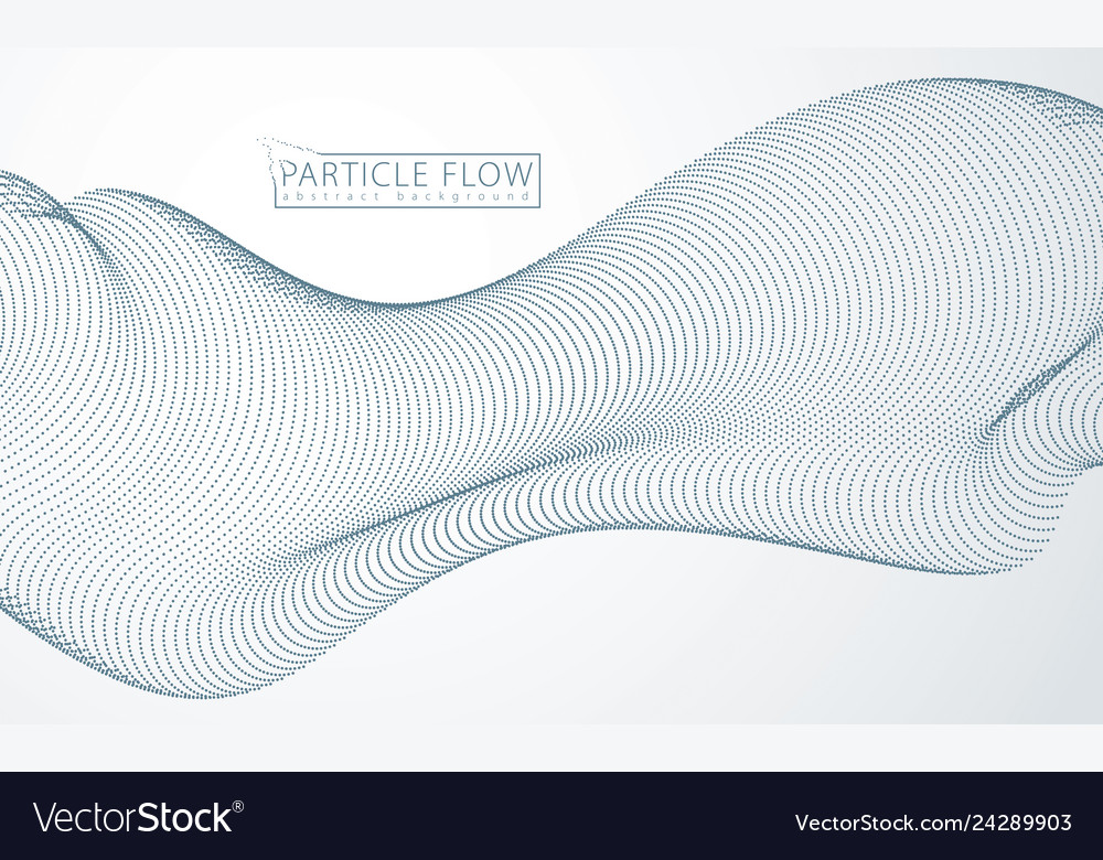 Array of particles flowing dynamic sound wave 3d