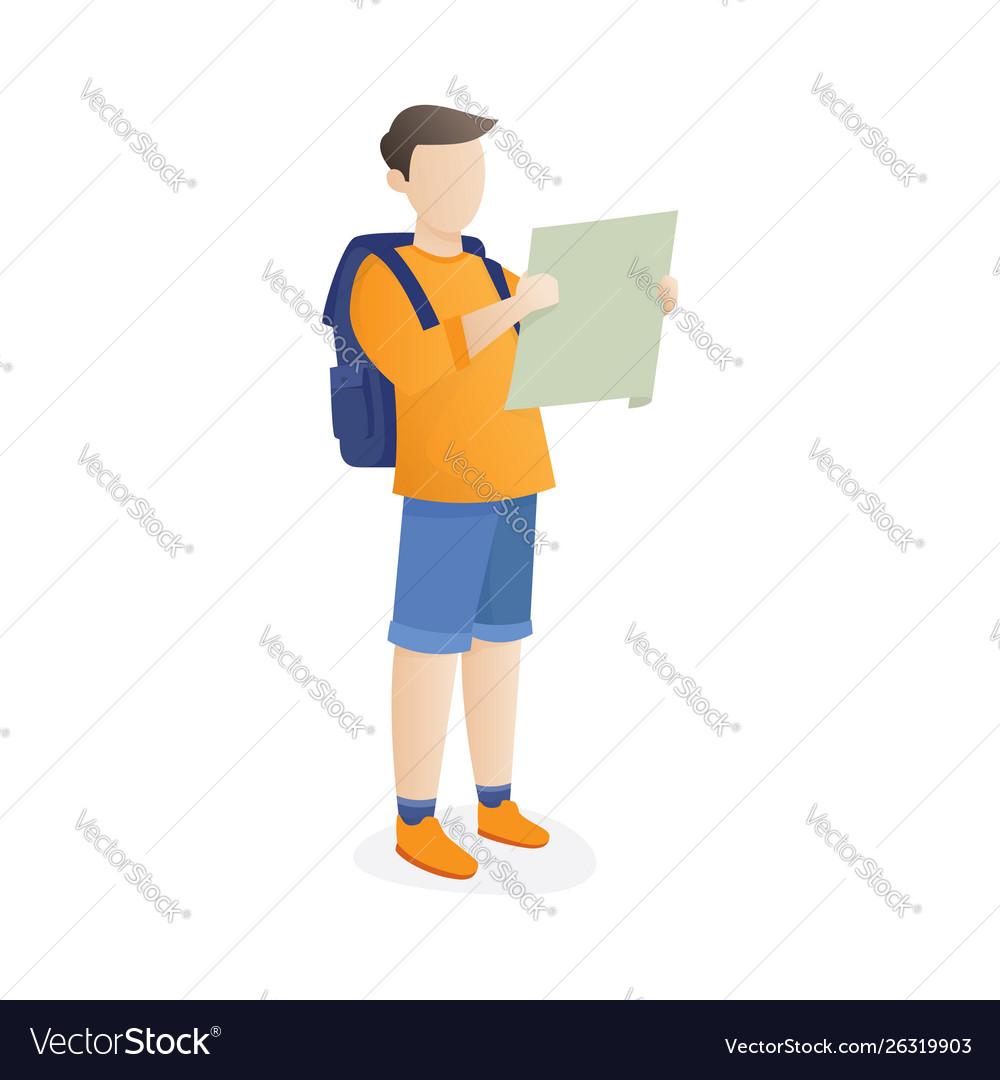 Backpacker looking at map