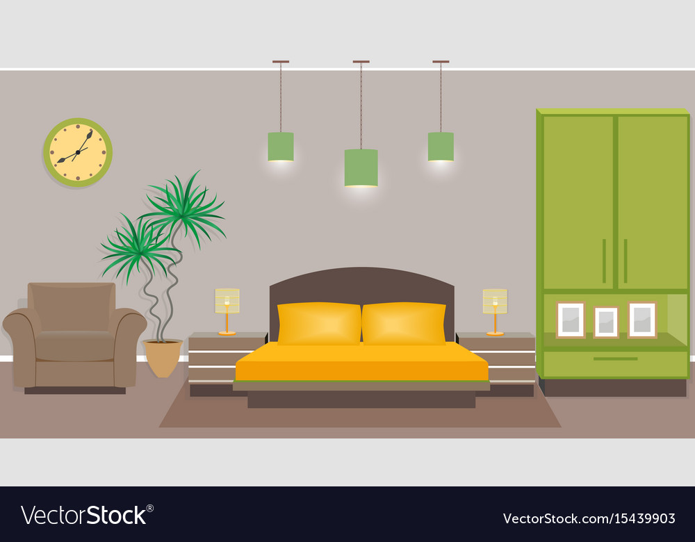 Bedroom interior with furniture including bed
