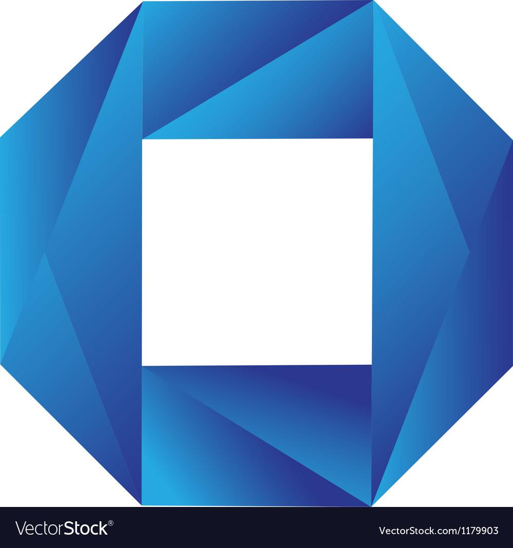 Blue geometric logo vector image