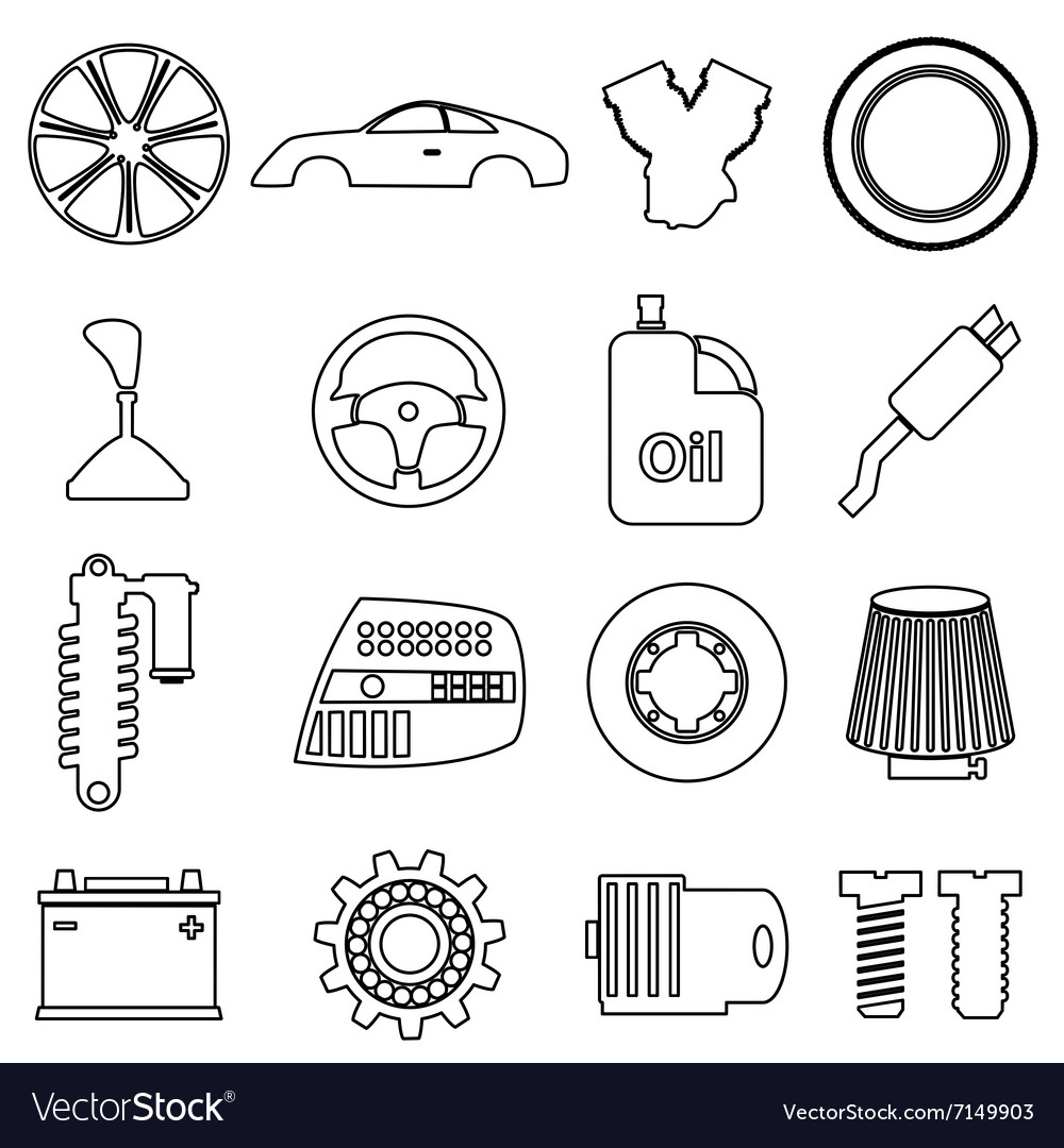 Car parts store simple black outline icons set Vector Image