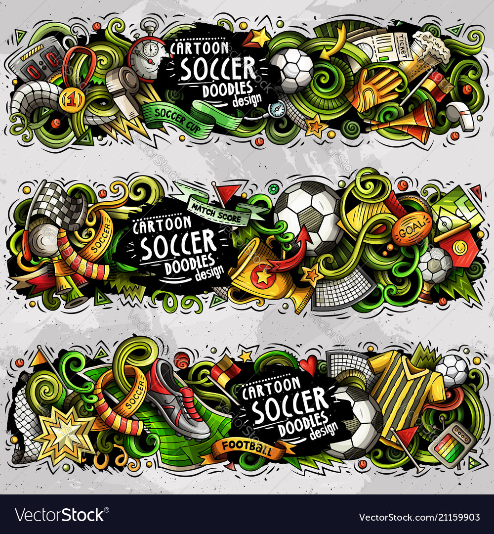 Cartoon doodles football banners
