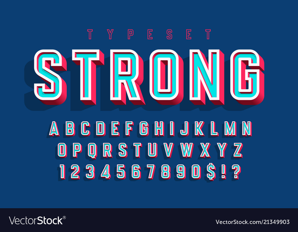 Condensed bold 3d display font alphabet letters