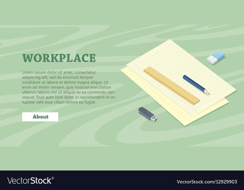 Desk with Sheet of Paper Pencil Ruler Eraser Flash