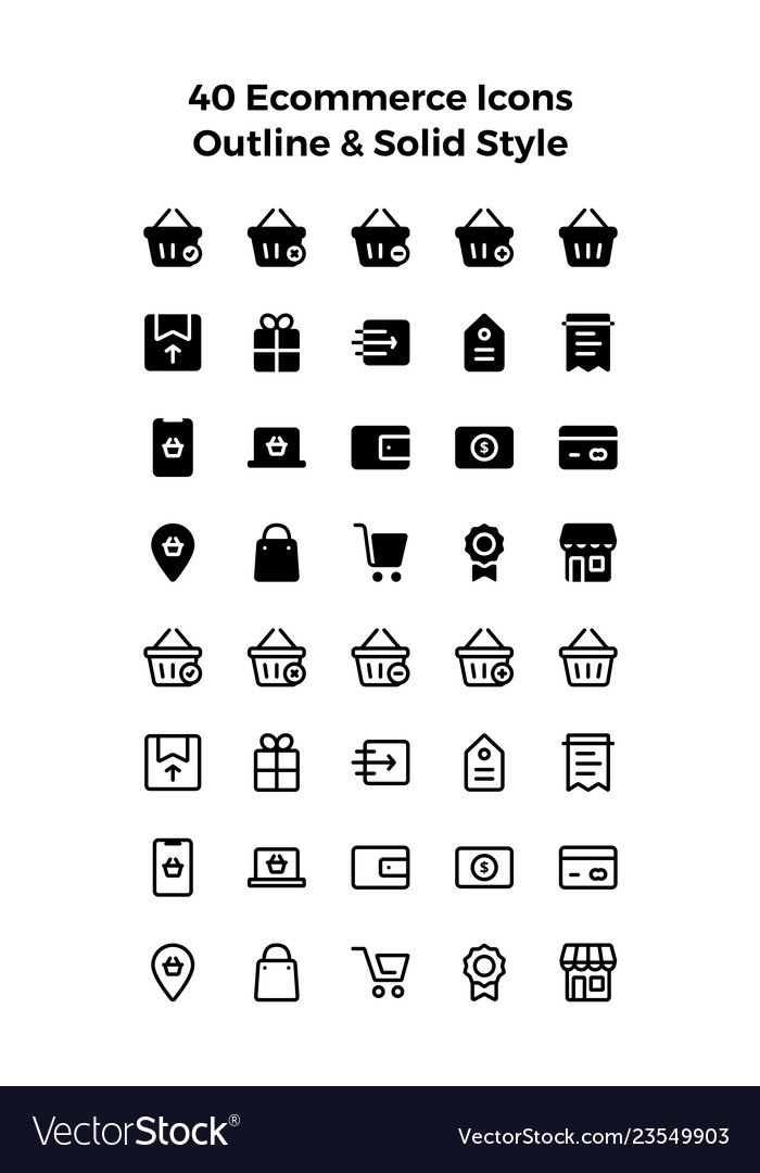 Ecommerce icons in solid and outline style