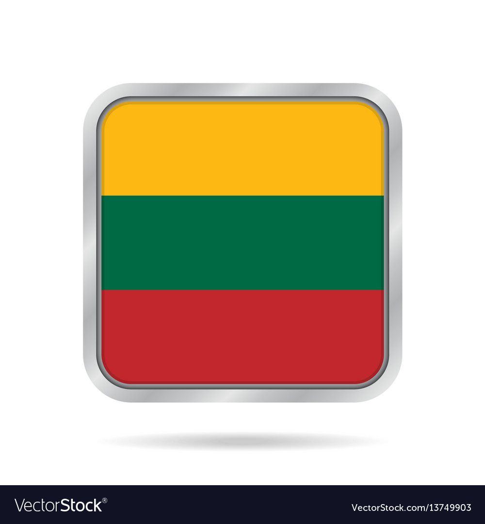 Flag of lithuania metallic gray square button