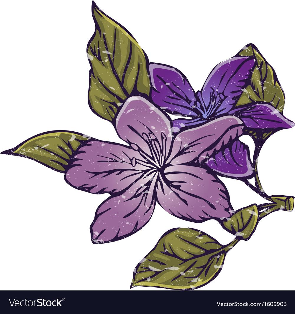 Flower in vintage style vector image