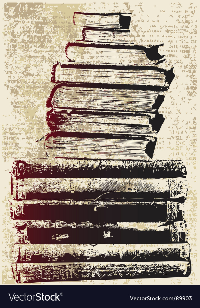 Grunge book stack vector image