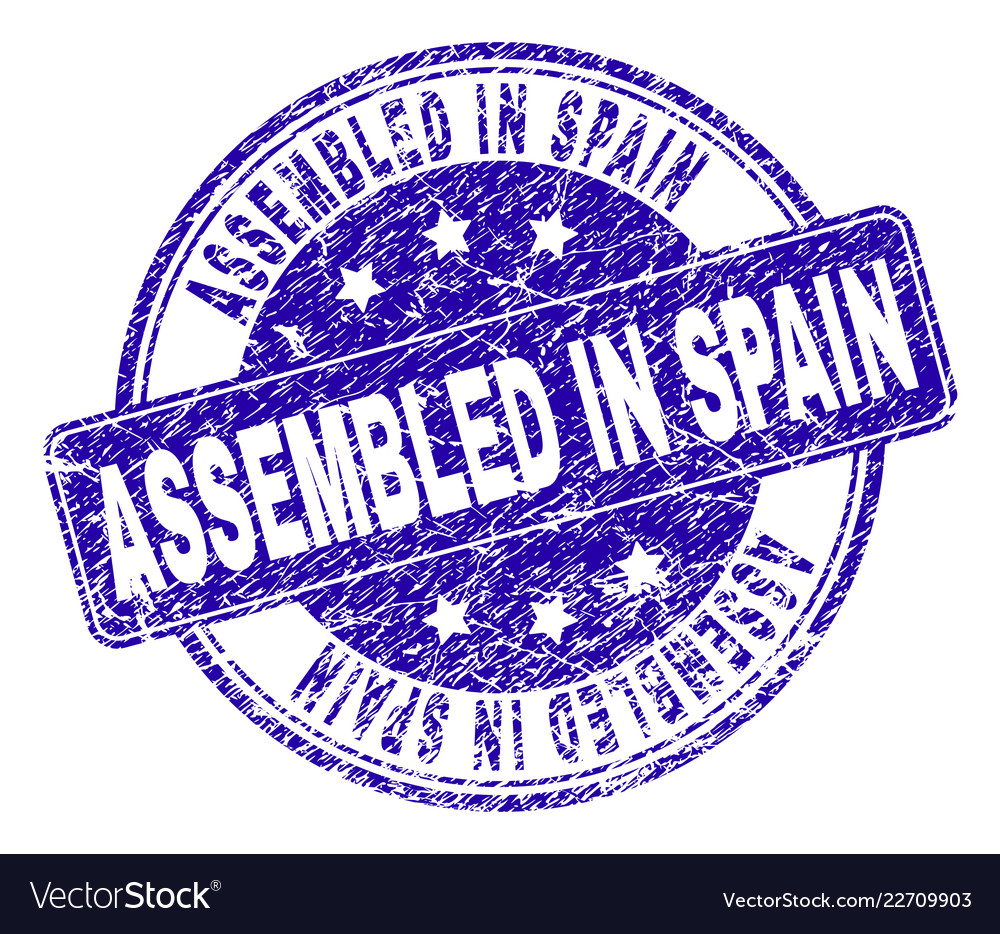 Grunge Textured Assembled In Spain Stamp Seal Vector Image