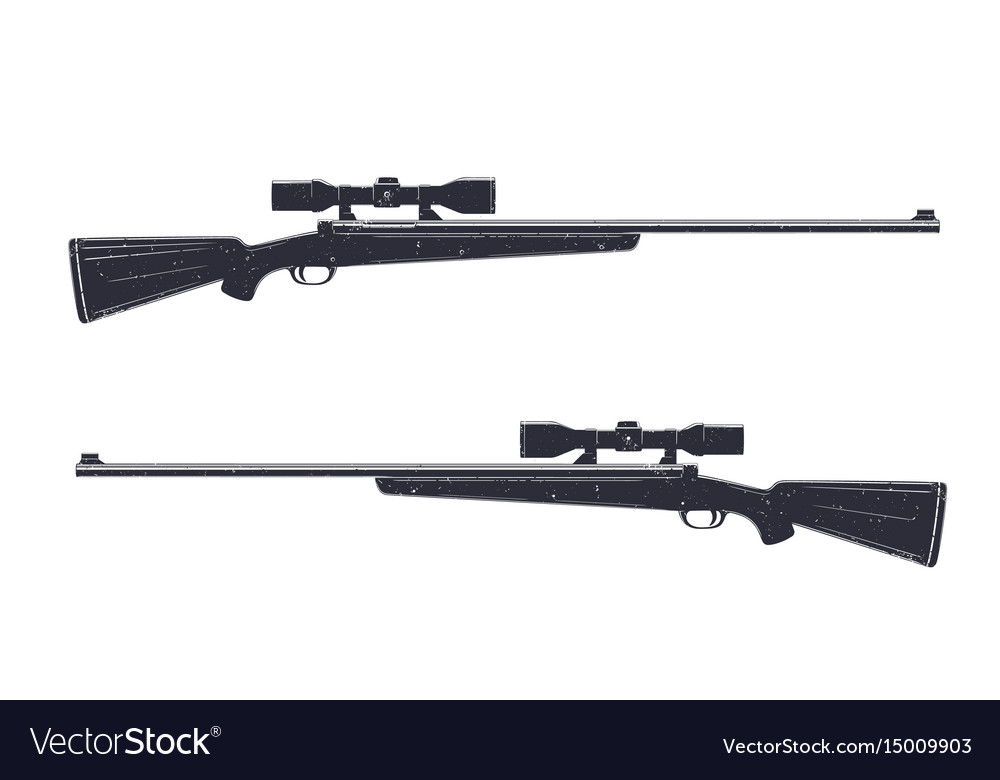 Hunting rifle with optical sight sniper rifle vector image