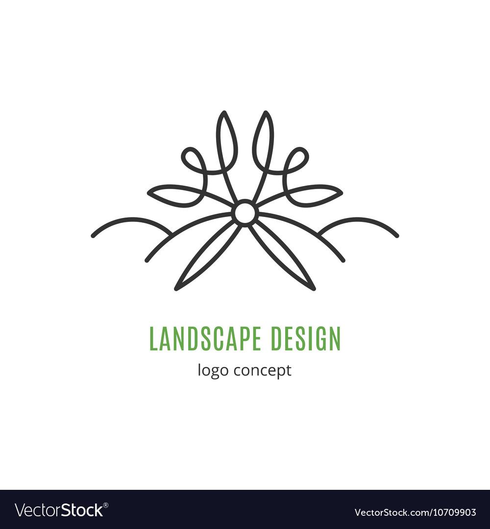 Landscape design logo concept Line icon art