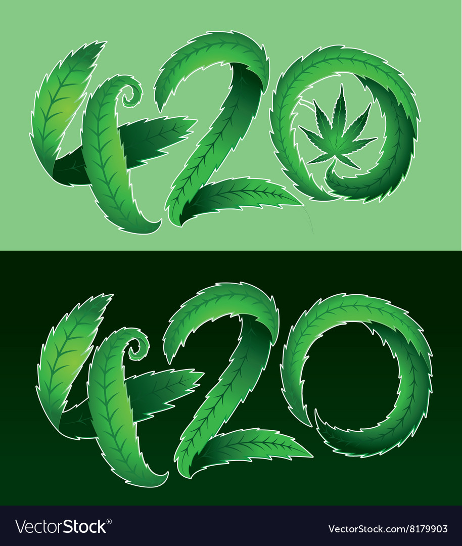 Marijuana Leaf Symbol And 420 Hemp Text Royalty Free Vector