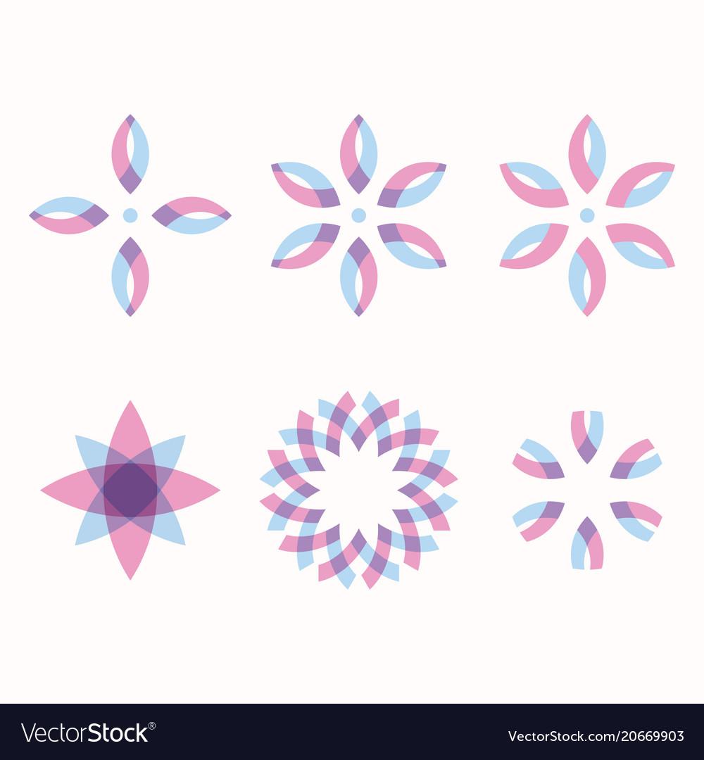 Set of 6 symmetric geometric shapes vector image