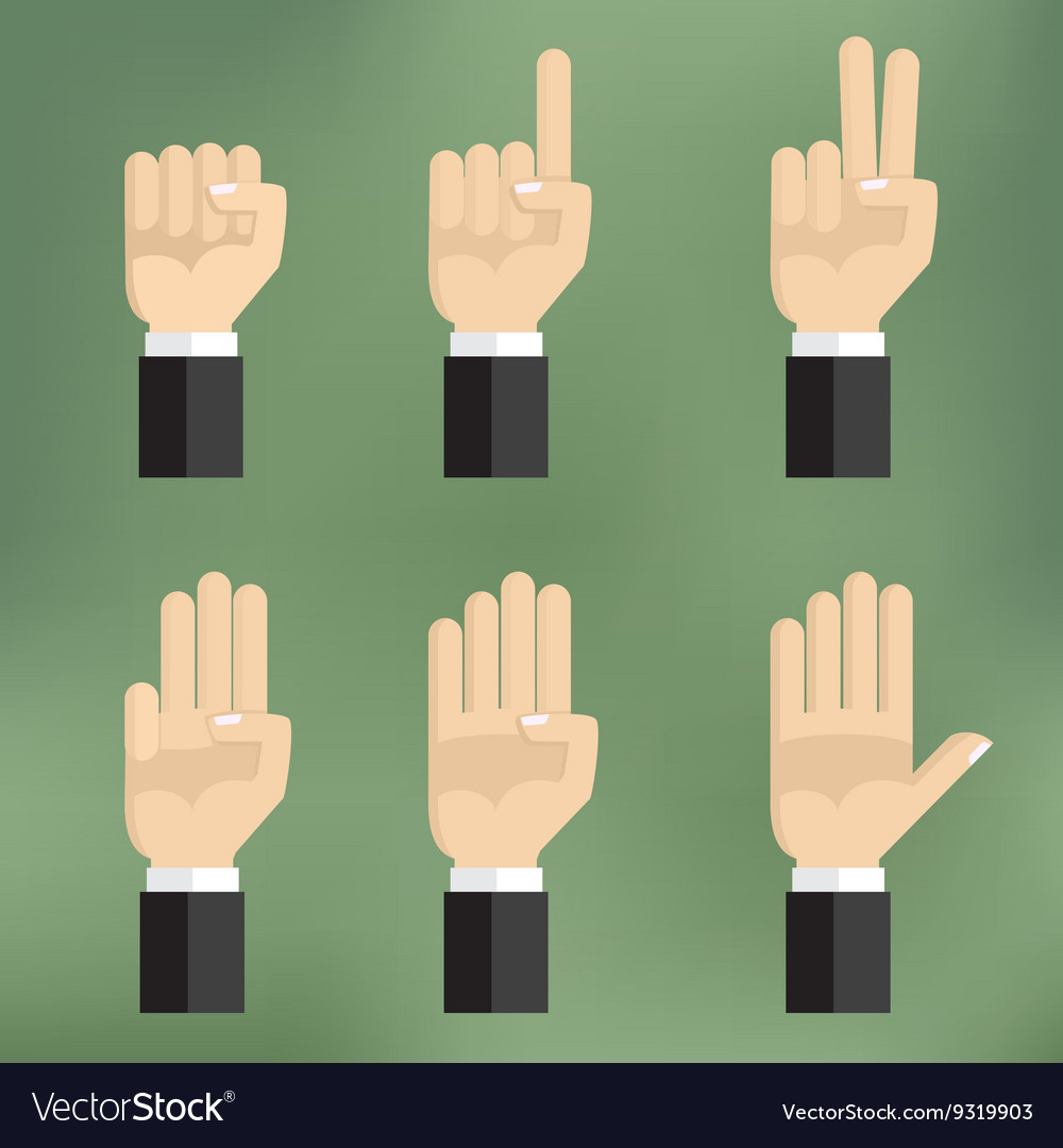 Set of counting hand sign from one to five