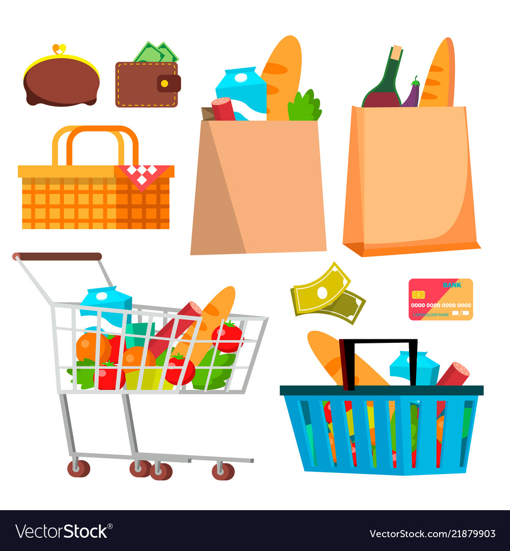 Store shopping icons wallet money credit