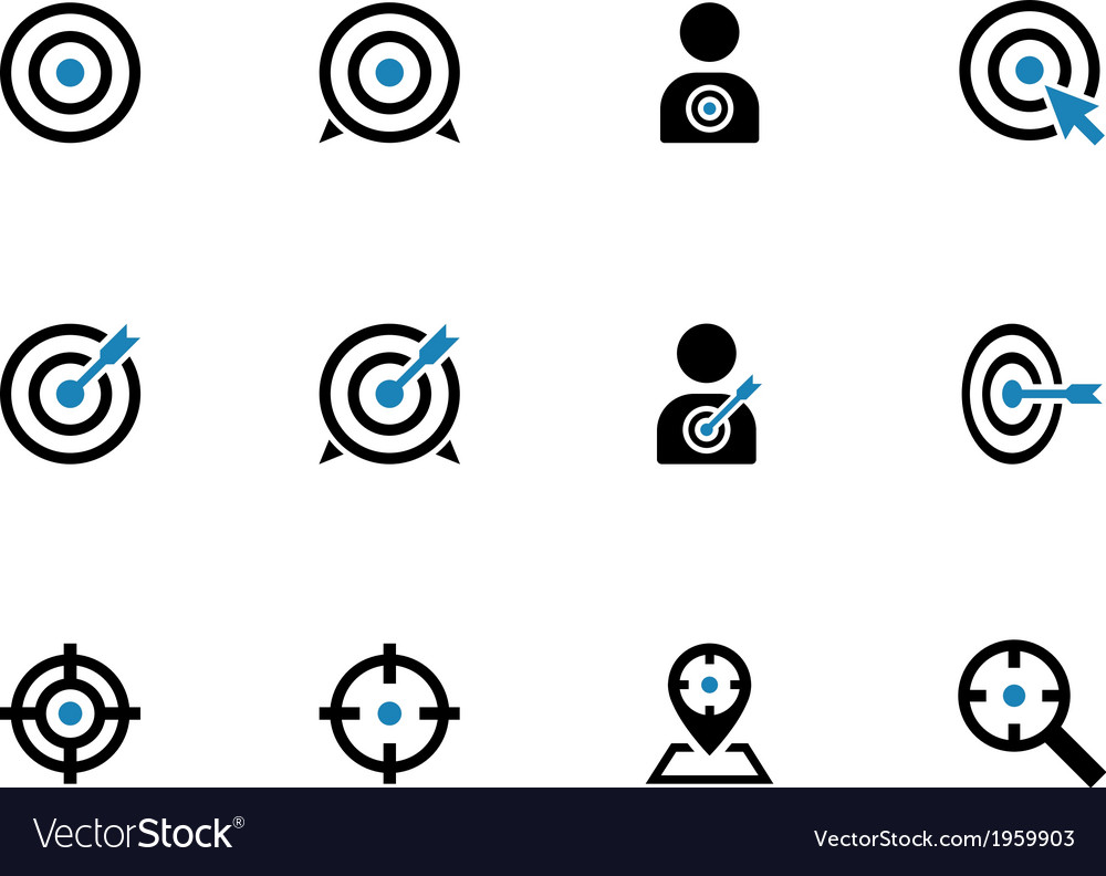 Target duotone icons on white background vector image