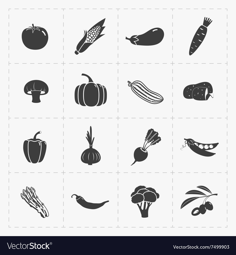 Vegetable Black Icon set on White